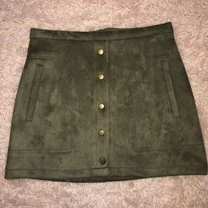 Dresses & Skirts - Olive Green Faux Suede Mini Skirt